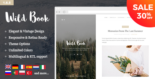 ThemeForest - Wild Book v1.6.5 - Vintage, Elegant & Summer WordPress Personal Blog Theme (Multilingual, RTL support) - 10962274